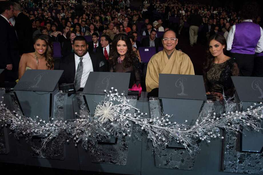Judges from left, Claudia Jordan, Pablo Sandoval, Lisa Vanderpump, Chef Masaharu Morimoto, and Miss Universe 2010, Ximena Navarrete. Photo: Valerie Macon, Miss Universe Organization / RICHARD HARBAUGH