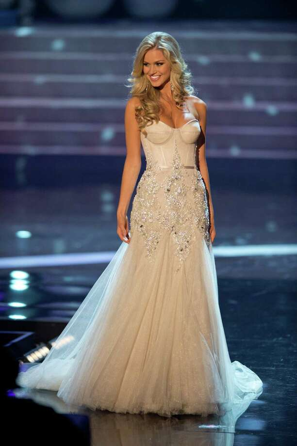 Miss Australia, Renae Ayris, competes in an evening gown of her choice as one of the top 10 contestants. Photo: Matt Brown, Miss Universe Organization / Miss Universe Organization