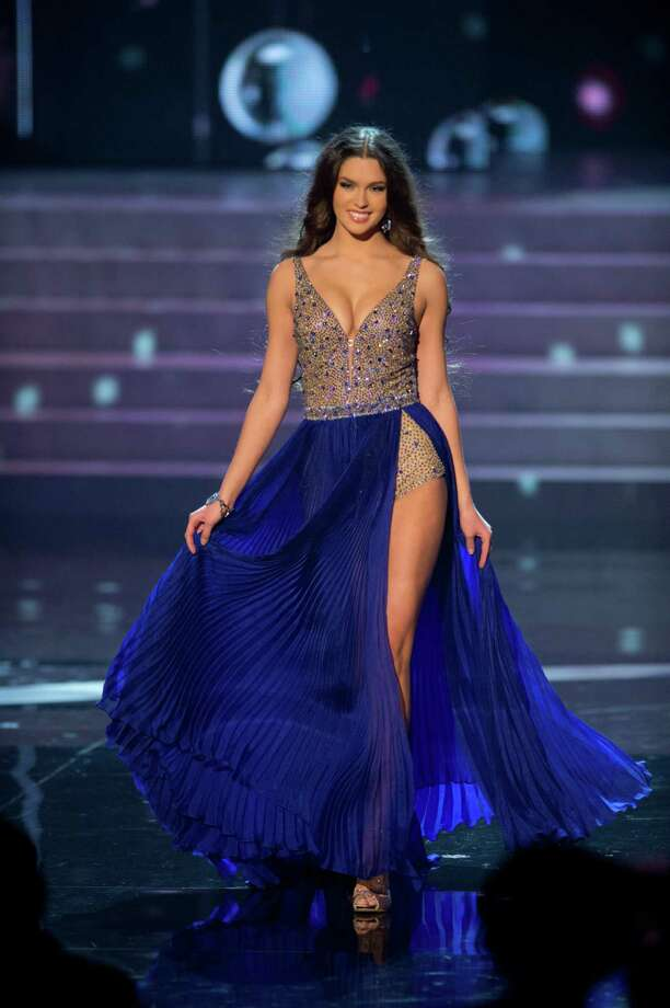 Miss Russia, Elizabeth Golovanova, competes in an evening gown of her choice as one of the top 10 contestants. Photo: Matt Brown, Miss Universe Organization / Miss Universe Organization