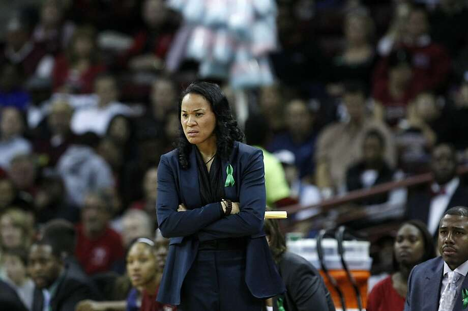 South Carolina head coach Dawn Staley watches her team as the Gamecocks trail Stanford in the first period at the Colonial Life Arena in Columbia, South Carolina, on Wednesday, December 19, 2012. (C. Aluka Berry/The State/MCT) Photo: C. Aluka Berry, McClatchy-Tribune News Service