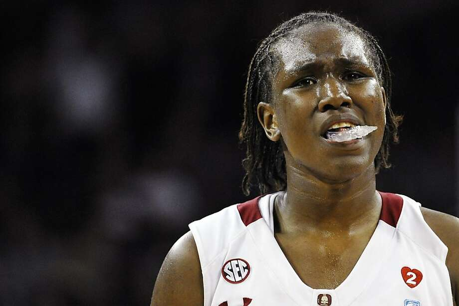 South Carolina's Aleighsa Welch reacts in the final seconds of the second half of an NCAA college basketball game against Stanford, Wednesday, Dec. 19, 2012, in Columbia, S.C. Stanford won 53-49. (AP Photo/Rainier Ehrhardt) Photo: Rainier Ehrhardt, Associated Press