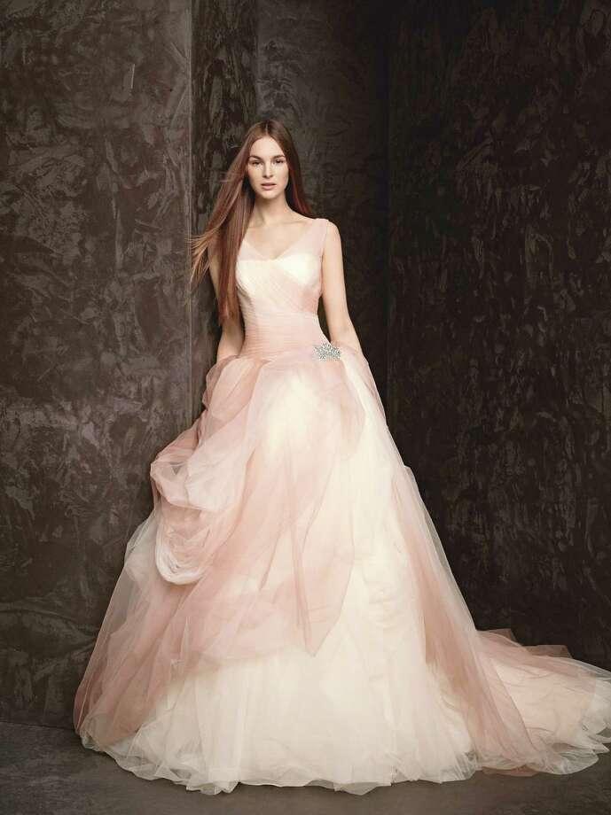 Style: WHITE by Vera Wang Ombre-printed tue ball gown, $1,348, at David's Bridal, www.davidsbridal.com Photo: David's Bridal