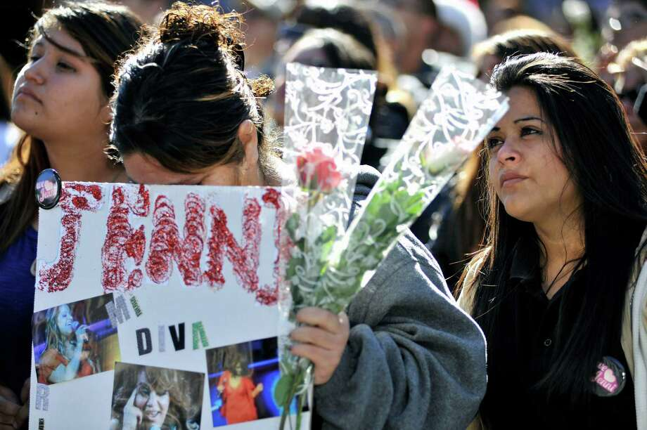 Fans gather to mourn the loss of singer Jenni Rivera at her memorial ceremony held at Gibson Amphitheatre on December 19, 2012 in Universal City, California. Photo: Toby Canham, Getty Images / 2012 Getty Images