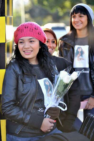 Andrea Meza from Santa Ana, California attends singer Jenni Rivera's memorial ceremony held at Gibso