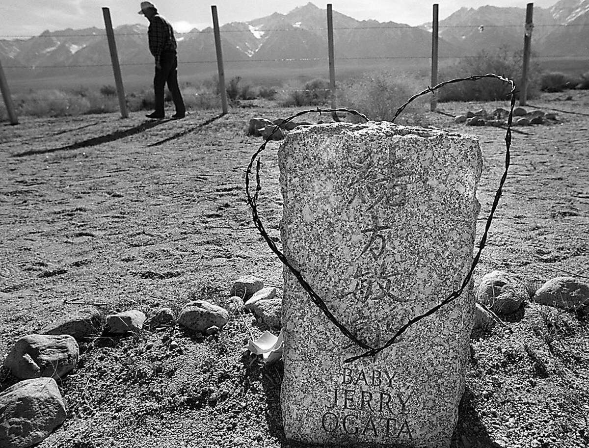 MANZANAR8/12MAR97/SC/BW--At the cemetery on the west end of the camp, a few small graves remember the loss of children who dies while interred. By Brant Ward/Chronicle
