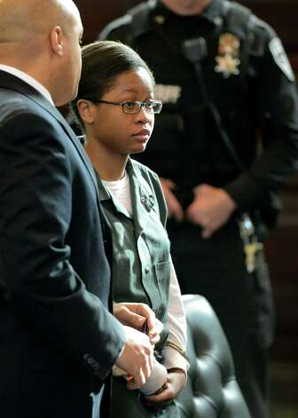 Trinity Copeland, represented by attorney Matthew Smalls, left, was arraigned on second-degree murder charges in front of Judge Andrew Ceresia at the Rensselaer County Courthouse in Troy, N.Y. Dec. 20, 2012.   (Skip Dickstein/Times Union archive) Photo: SKIP DICKSTEIN