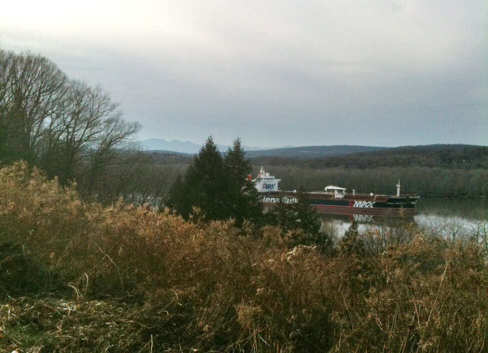 The Stena Primorsk oil tanker ran aground and punctured the outer layer of its hull near Stuyvesant, N.Y., Thursday Dec. 20, 2012. It was carrying North Dakota crude which it took on at the Port of Albany. No oil has escaped. (Rick Karlin/Times Union)