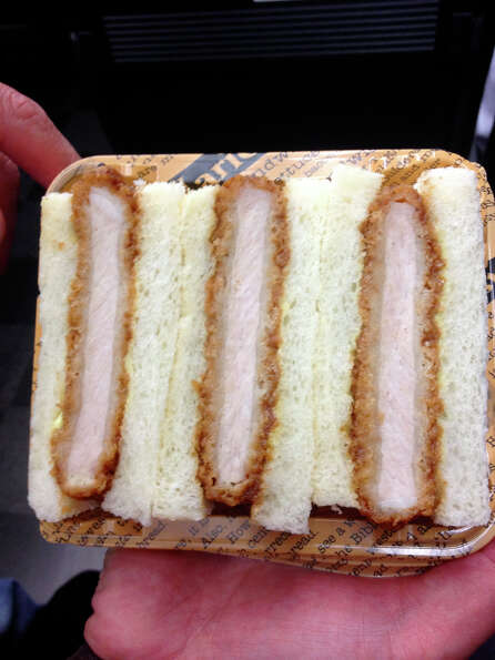 Cosentino: This is a katsu sandwich. So this is train food. A woman or a gentleman comes through wit