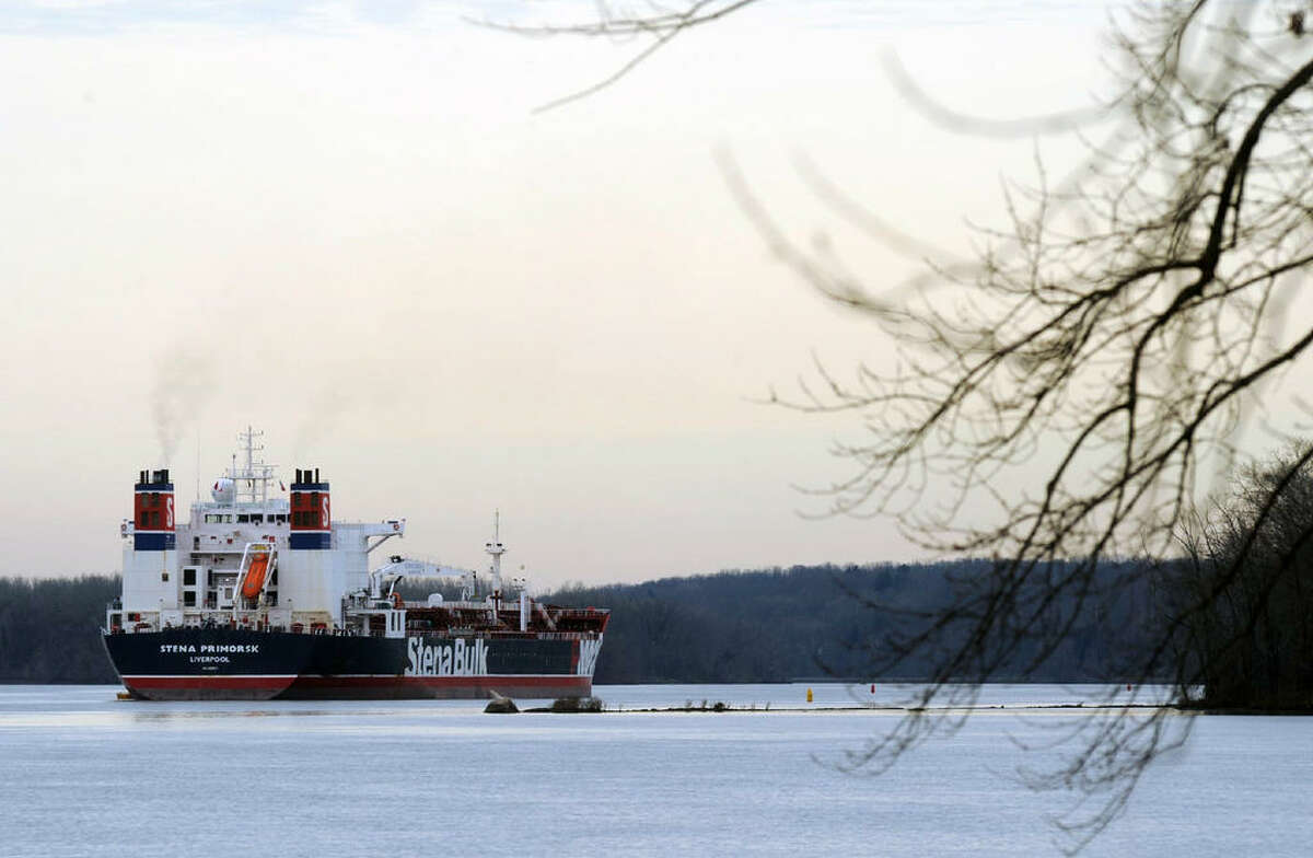 The Stena Primorsk oil tanker ran aground and punctured the outer layer of its hull near Stuyvesant, N.Y., Thursday Dec. 20, 2012. It was carrying North Dakota crude which it took on at the Port of Albany. No oil has escaped. (Michael P. Farrell/Times Union)
