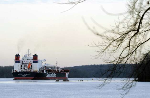 The Stena Primorsk oil tanker ran aground and punctured the outer layer of its hull near Stuyvesant, N.Y., Thursday Dec. 20, 2012. It was carrying North Dakota crude which it took on at the Port of Albany. No oil has escaped.(Michael P. Farrell/Times Union) Photo: Michael P. Farrell