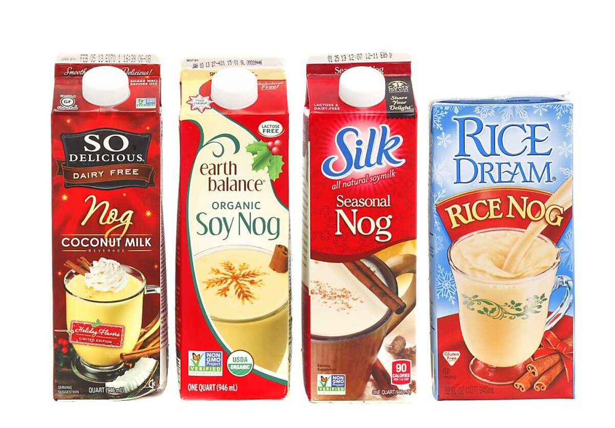 Non-dairy nog, from left: So Delicious, Earth Balance, Silk and Rice Dream as seen in San Francisco, California, on Wednesday, December 5, 2012. MANDATORY CREDIT FOR PHOTOG AND SF CHRONICLE/NO SALES-MAGS OUT-INTERNET OUT-TV OUT