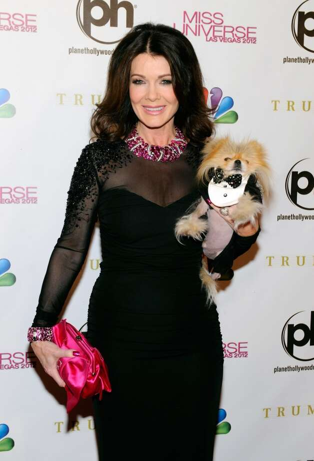 Television personality and pageant judge Lisa Vanderpump and her dog Giggy arrive at the 2012 Miss Universe Pageant at Planet Hollywood Resort & Casino on December 19, 2012 in Las Vegas, Nevada.  (Photo by David Becker/Getty Images) (Getty Images)