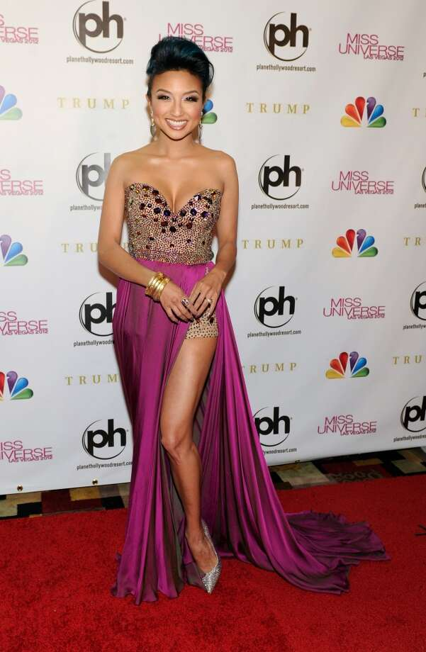 Television personality, fashion expert and pageant co-host Jeannie Mai arrives at the 2012 Miss Universe Pageant at Planet Hollywood Resort & Casino on December 19, 2012 in Las Vegas, Nevada.  (Photo by David Becker/Getty Images) (Getty Images)