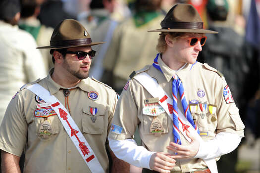 A large group of boy scouts attended the funeral of Benjamin Wheeler, at Trinity Episcopal Church, in Newtown, Conn., Dec. 20th, 2012. Wheeler is one of twenty students killed in the mass shooting at Sandy Hook Elementary School last Friday. Photo: Ned Gerard / Connecticut Post