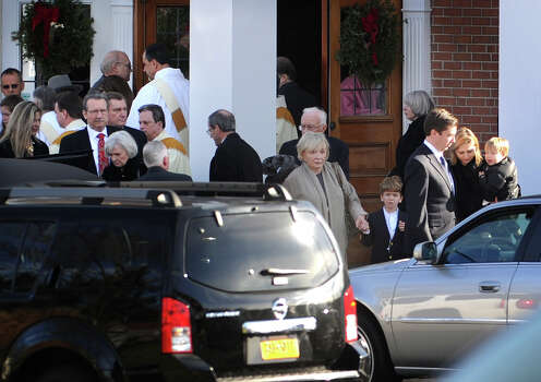 Family members, friends, and clergy exit the funeral service for Catherine Violet Hubbard,one of the twenty students killed in the Sandy Hook Elementary School shooting, at St. Rose of Lima Catholic Church in Newtown on Thursday, December 20, 2012. Photo: Brian A. Pounds / Connecticut Post