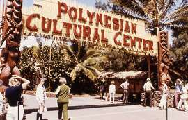 The original entrance of the Polynesian Cultural Center, which celebrates its 50th anniversary in 2013, reflected the bright colors of the era.