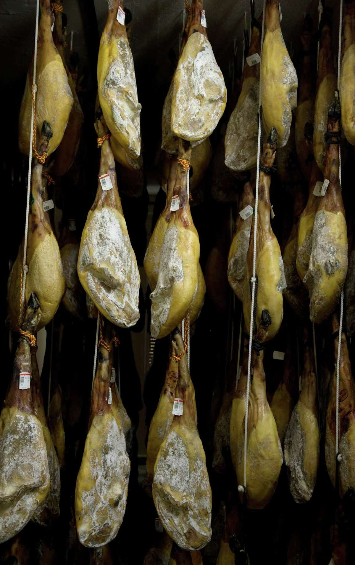 Jamón Ibérico de Bellota are usually dry-cured for up to three years after the pigs have been on a diet of acorns.