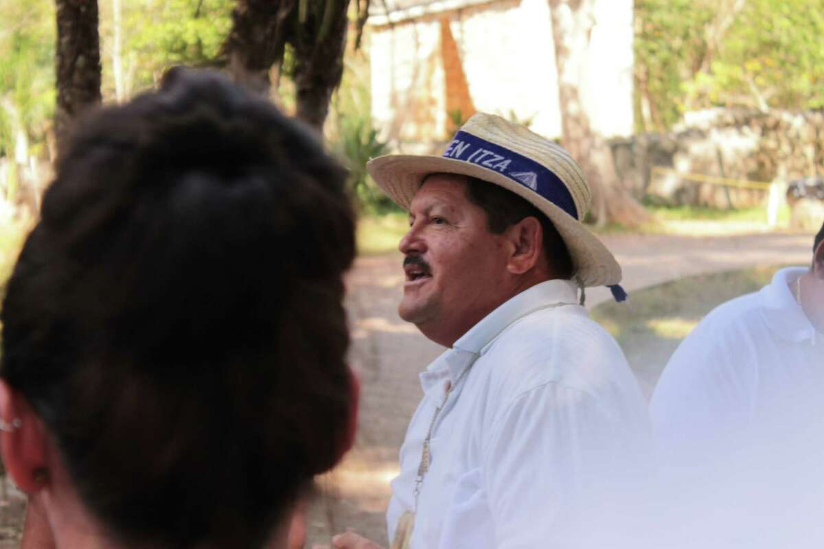 The tour guide Paco at the ancient Mayan city of Chichen Itza on Dec. 17, 2012, in Mexico. (Michael Janairo / Times Union)