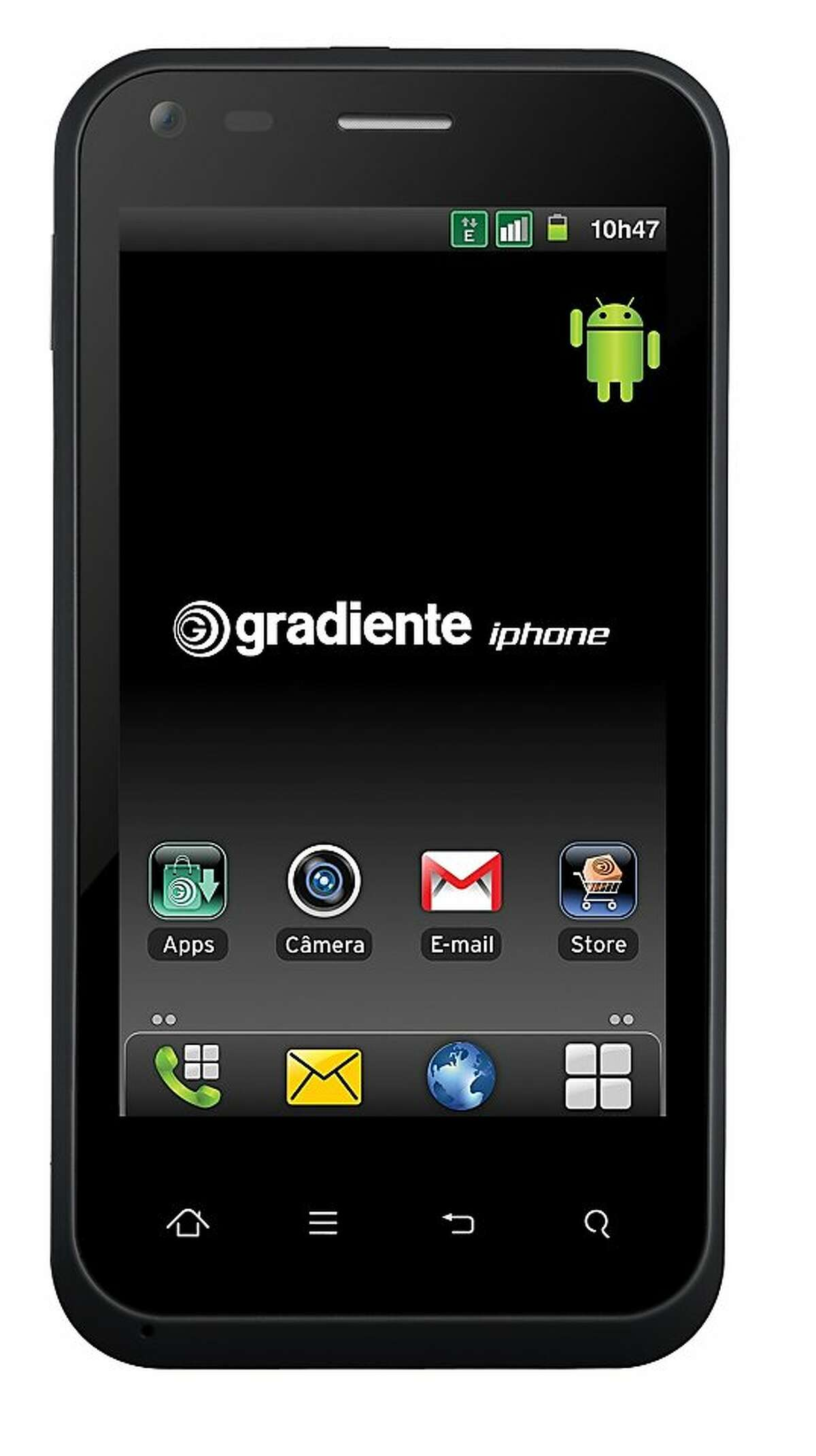 """In this image provided by Gradient S.A., is seen the company's smartphone with the iPhone brand. A Brazilian consumer electronics manufacturer has begun selling smartphones with the iPhone brand, a trademark it has the right to use in Latin America's biggest country. Gradiente SA says in a statement that in 2008 the government gave it the right to use the brand on its cellphones and the """"exclusive rights to produce and sell them in Brazil."""" (AP Photo/Gradient S.A.)"""