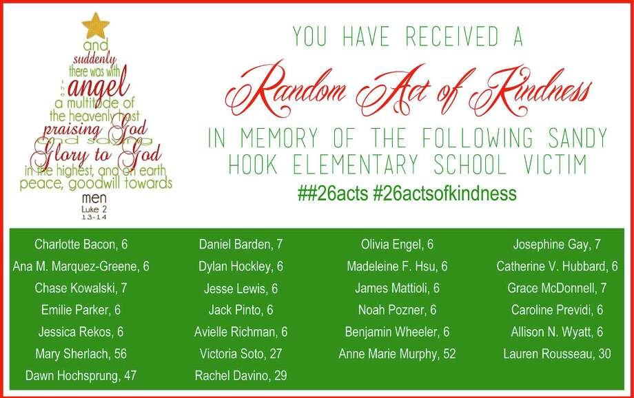 A holiday card from Tori Johnson.  Johnson, a 29-year-old San Antonio mom and blogger, has joined a national movement called 26 Acts of Kindness, doing kind acts in memory of the Newtown victims. Photo: Tori