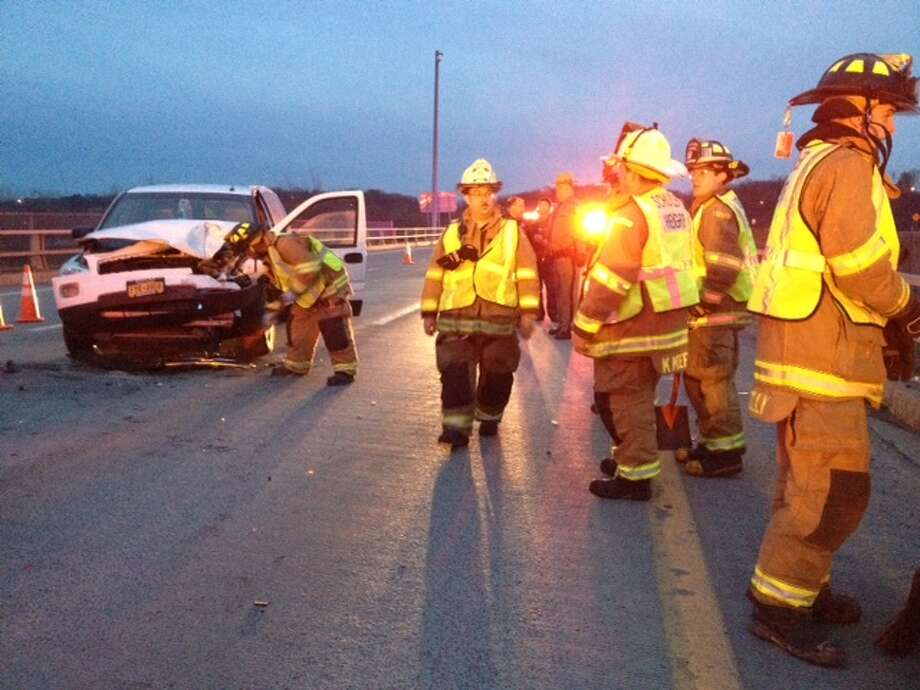 Police respond to a multi-car crash on the Menands Bridge, Thursday evening, (Lori Van Buren/Times Union)