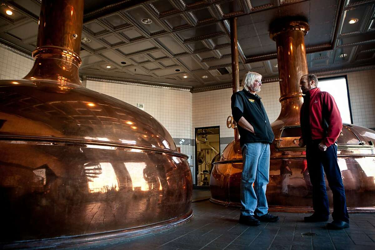 Sierra Nevada Head Brewer Steve Dresler, left, and Research and Development Head Brewer Scott Jennings, right, pose for a portrait at the brewery in Chico, Calif., December 18, 2012.