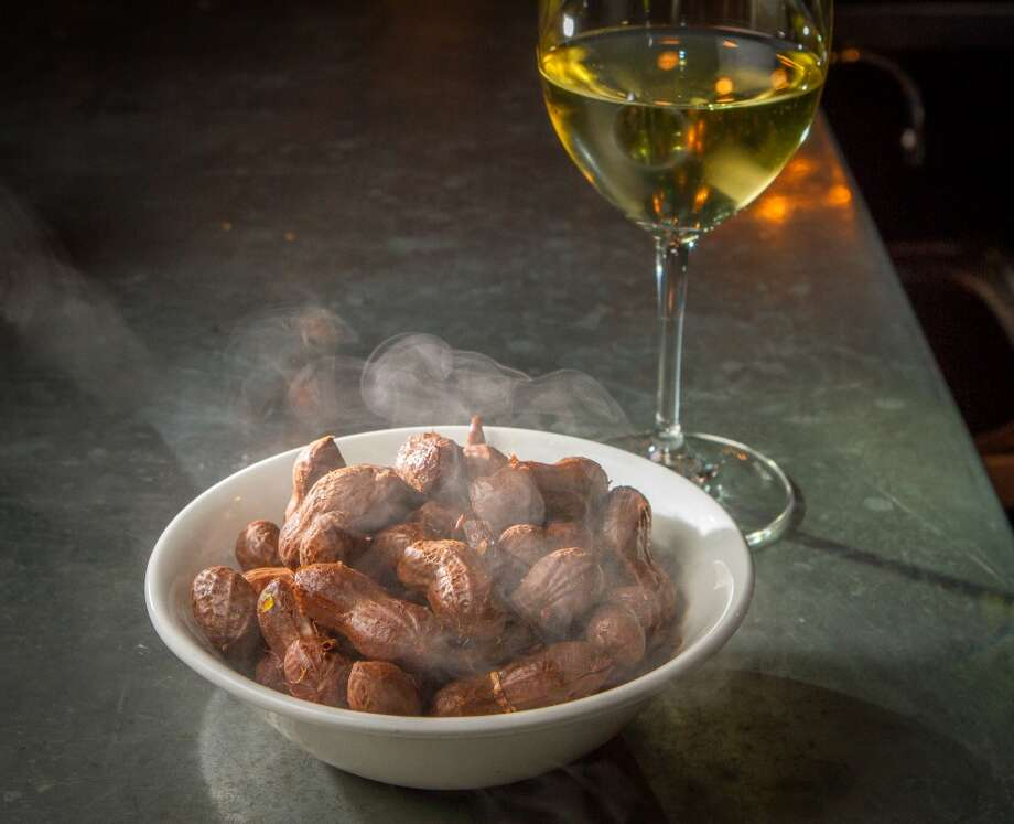 The Boiled Peanuts with a glass of 2009 Mogl Riesling Federspiel at St. Vincent (Special to the Chronicle)