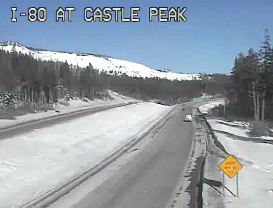 Calm before storm: Thursday afternoon on I-80 at Castle Peak adjacent to Boreal