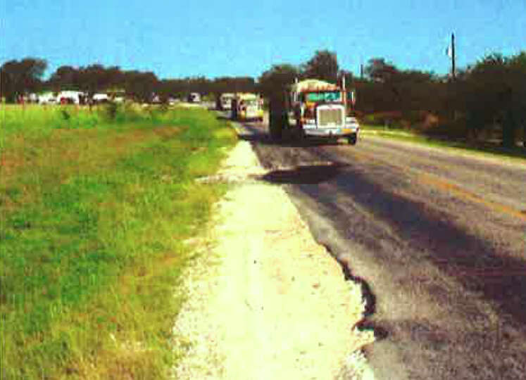 Damaged roads caused by heavy truck traffic in the Eagle Ford Shale areas. courtesy; TXDot