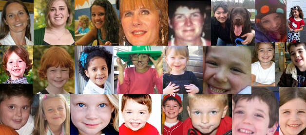 Six adults and 20 children were killed in a school shooting in Newtown, Conn., on Dec. 14. Pictured from left to right: Dawn Hochsprung, Lauren Rousseau, Victoria Soto, Mary Sherlach, Anne Marie Murphy, Rachel D'Avino, Charolette Bacon, Avielle Richman, Daniel Barden, Catherine V. Hubbard, Ana M. Marquez-Greene, Josephine Gay, Olivia Engel, Jesse Lewis, Caroline Previdi, Noah Pozner, James Mattioli, Grace McDonnell, Emilie Parker, Dylan Hockley, Jack Pinto, Chase Kowalski, Benjamin Wheeler, and Jessica Rekos. 