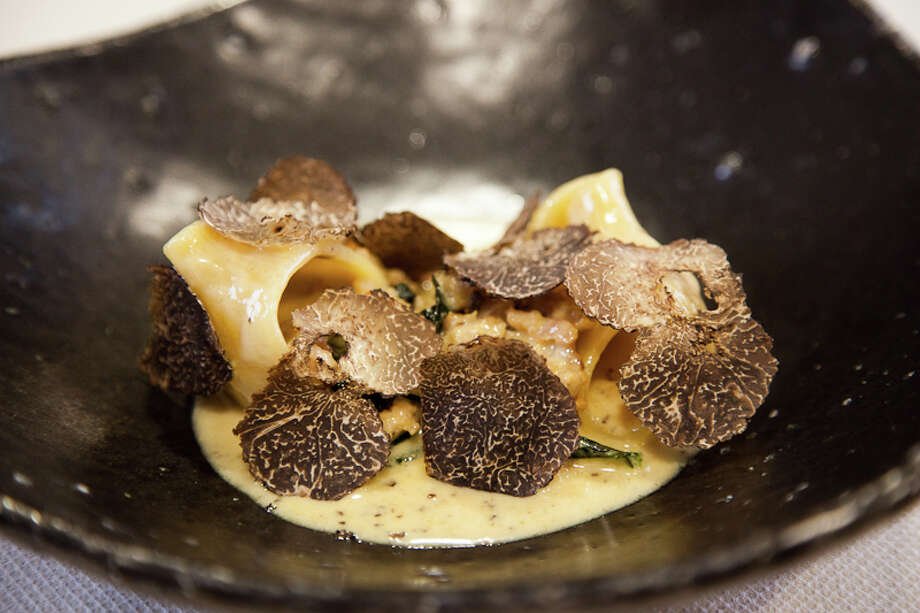 "Third course: ""Lumaconi alla norcia"" sausage kale and black winter truffles (Creel Films)"