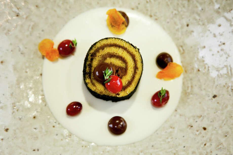 Dessert: Buche de Noel, squash, cranberry (Creel Films)