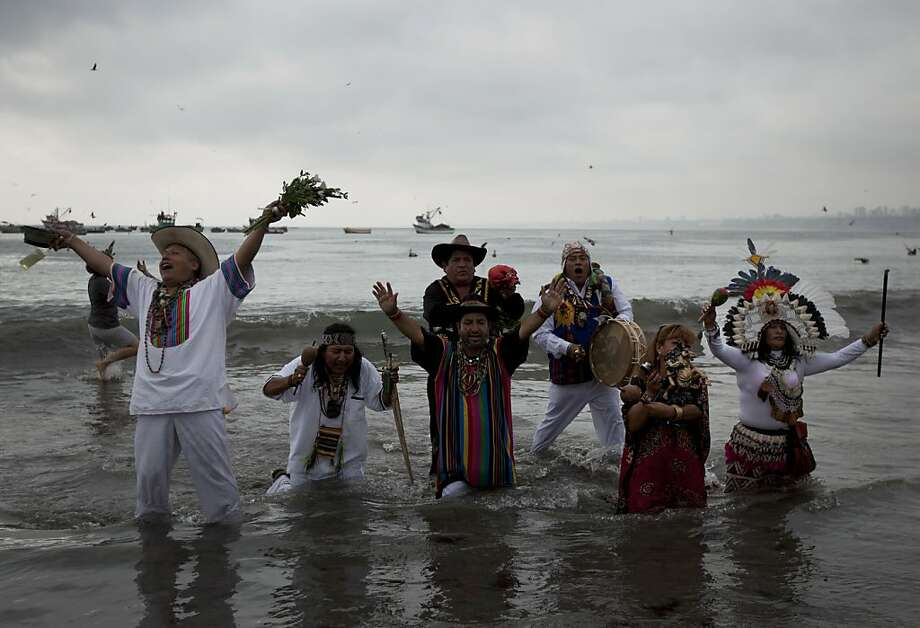 Peruvian shamans perform a ritual against the apocalyptic prediction associated with the end of the Mayan calendar era. Photo: Martin Mejia, Associated Press