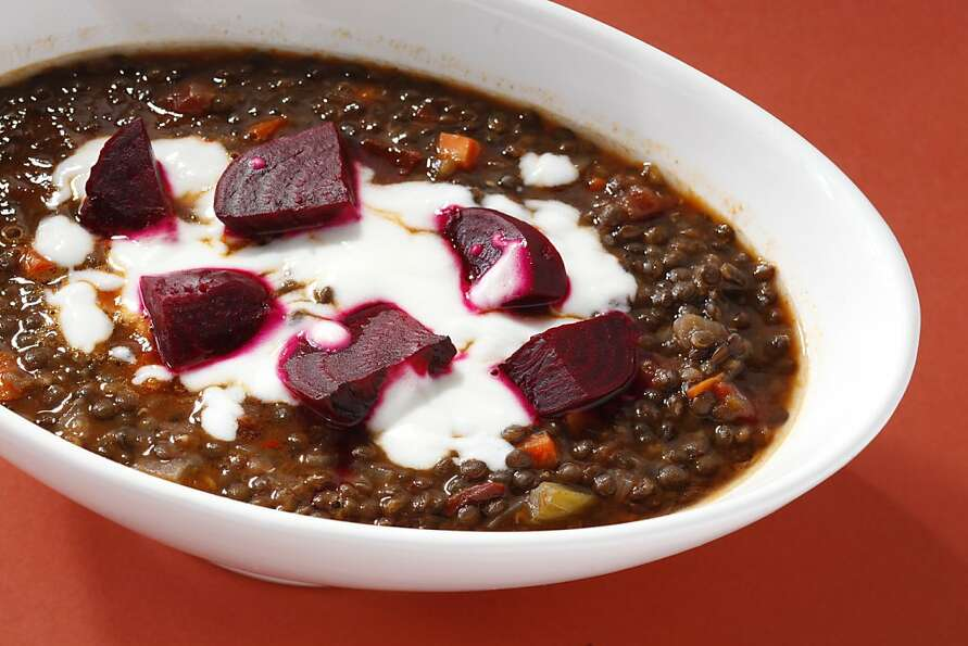 Lentil Stew With Roasted Beets & Yogurt