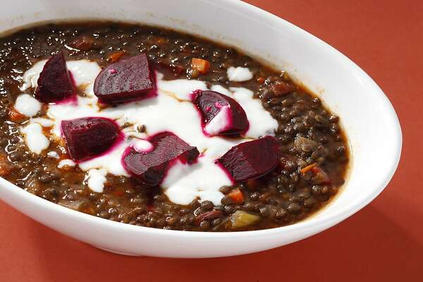 Lentil Stew with Roasted Beets as seen in San Francisco, California, on Wednesday, December 19, 2012. Food styled by Tara Duggan.