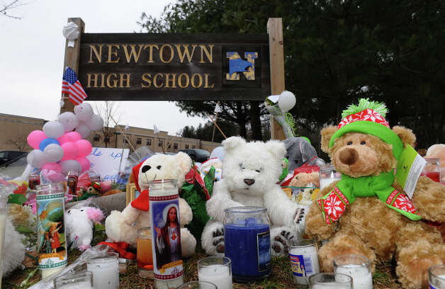 A memorial at Newtown High School for victims from last Friday's shooting massacre at Sandy Hook Elementary School in Newtown, Conn. on Thursday December 20, 2012. Photo: Christian Abraham / Connecticut Post