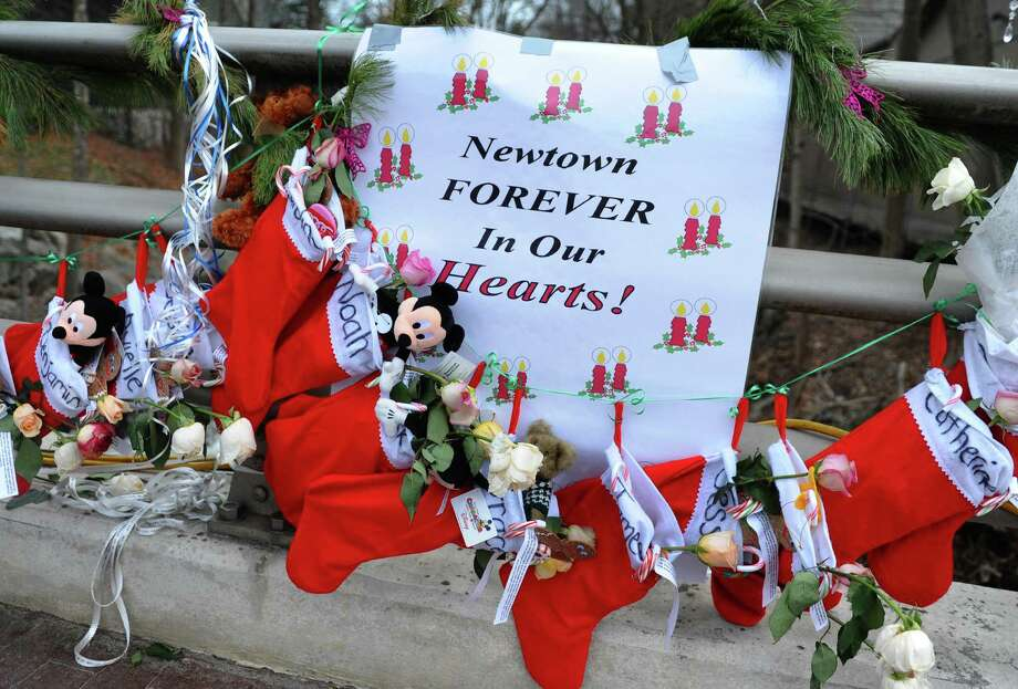 Memorial for victims from last Friday's shooting massacre at Sandy Hook Elementary School in Newtown, Conn. on Thursday December 20, 2012. Photo: Christian Abraham / Connecticut Post