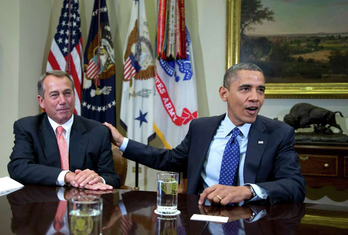 President Barack Obama acknowledges House Speaker John Boehner last month at the White House. They had been discussing the fiscal cliff.