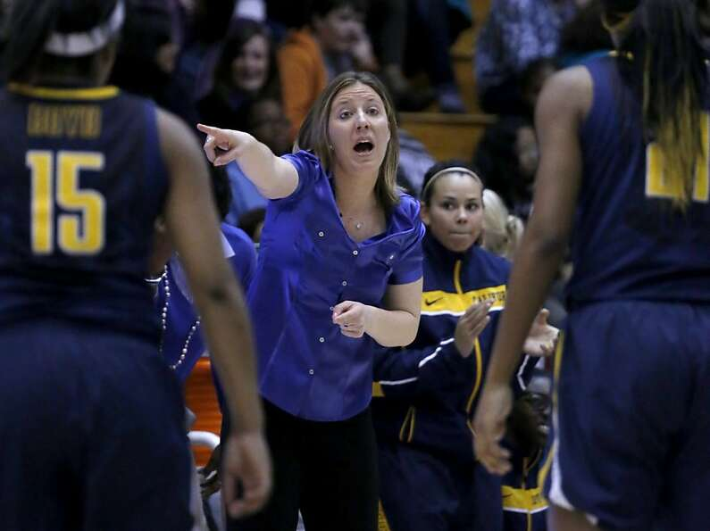 California head coach Lindsay Gottlieb directs her team during the second half of a women's NCAA col