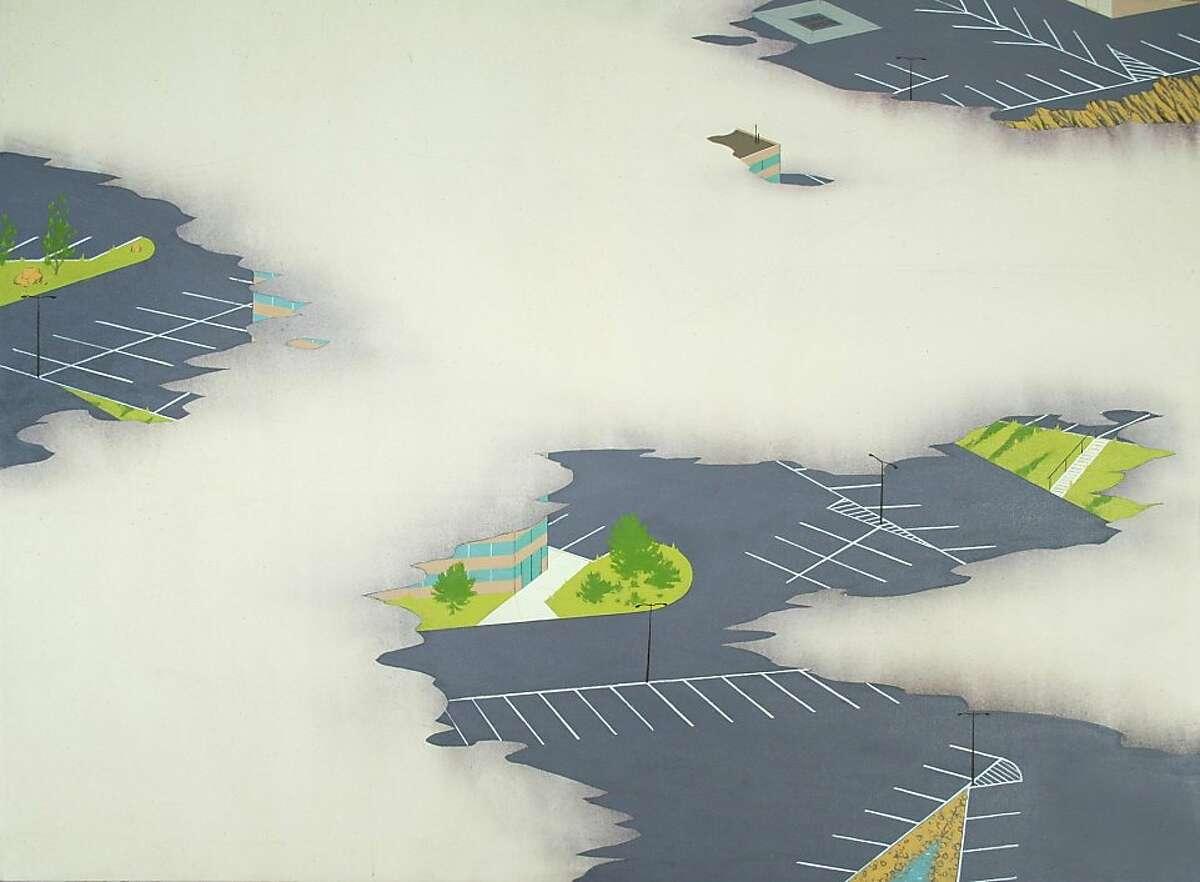 """Office Park (Clouds)"" (2012) acrylic on canvas by Chris Ballantyne 36"" x 48"""
