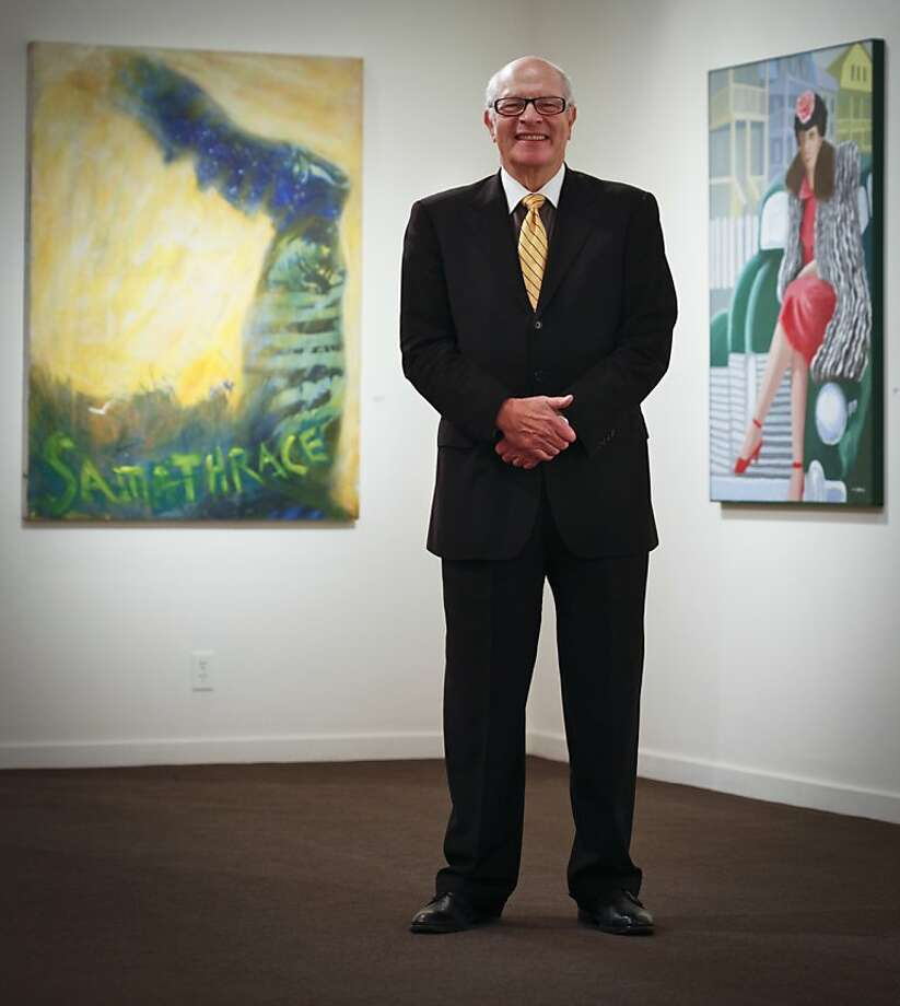"George Krevsky is flanked in his namesake S.F. gallery by Lawrence Ferlinghetti's 2009 oil and acrylic on canvas ""Samathrace"" (left) and Louis Grant's ""Woman Posing With Eddie's Car,"" oil on canvas, 2000. Photo: Russell Yip, The Chronicle"
