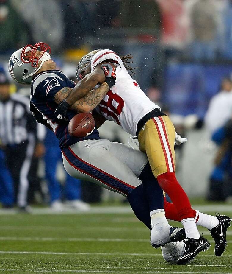 Dashon Goldson plans to appeal a league fine for his hit on Aaron Hernandez. Photo: Jim Rogash, Getty Images