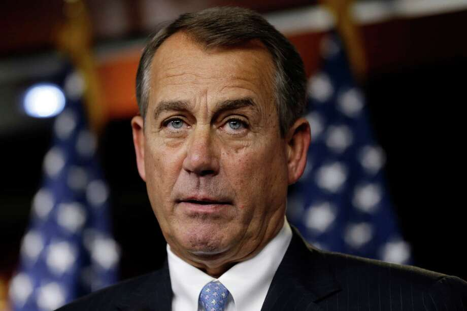 House Speaker Rep. John Boehner, R-Ohio, speaks to the media about the fiscal cliff at the U.S. Capitol in Washington, on Thursday, Dec. 20, 2012. (AP Photo/Jacquelyn Martin) Photo: Jacquelyn Martin