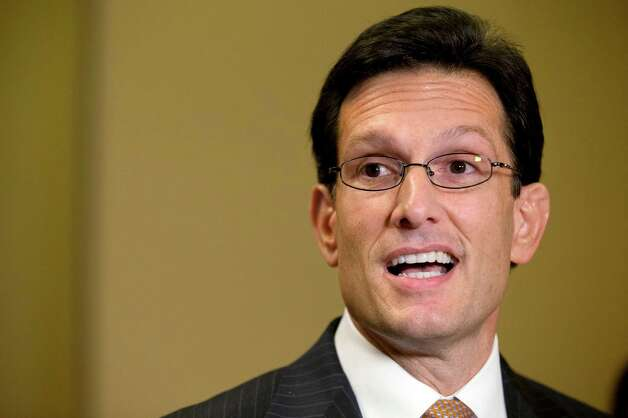 "House Majority Leader Rep. Eric Cantor, R-Va., speaks to the media about the fiscal cliff and ""Plan B,"" at the U.S. Capitol in Washington, on Thursday, Dec. 20, 2012. (AP Photo/Jacquelyn Martin) Photo: Jacquelyn Martin"