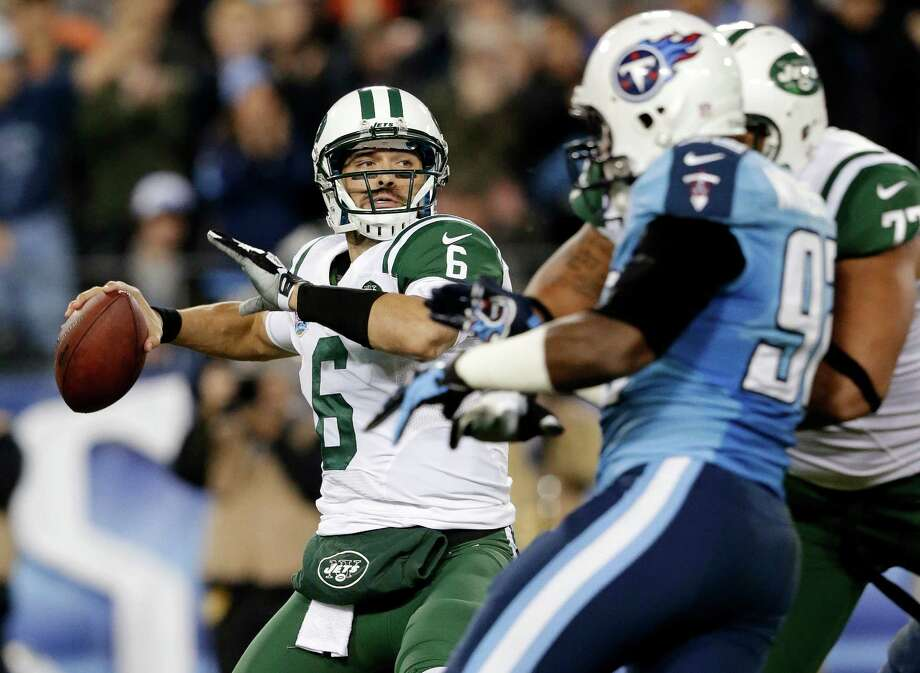 New York Jets quarterback Mark Sanchez (6) passes against the Tennessee Titans in the second quarter of an NFL football game, Monday, Dec. 17, 2012, in Nashville, Tenn. (AP Photo/Wade Payne) Photo: Wade Payne