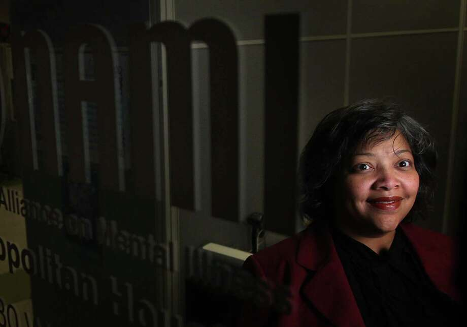 Angelina Brown Hudson is photographed at Houston's National Alliance on Metal Illness (NAMI) in the MHMRA building on Thursday, Dec. 20, 2012, in Houston. Photo: Mayra Beltran, Houston Chronicle / © 2012 Houston Chronicle