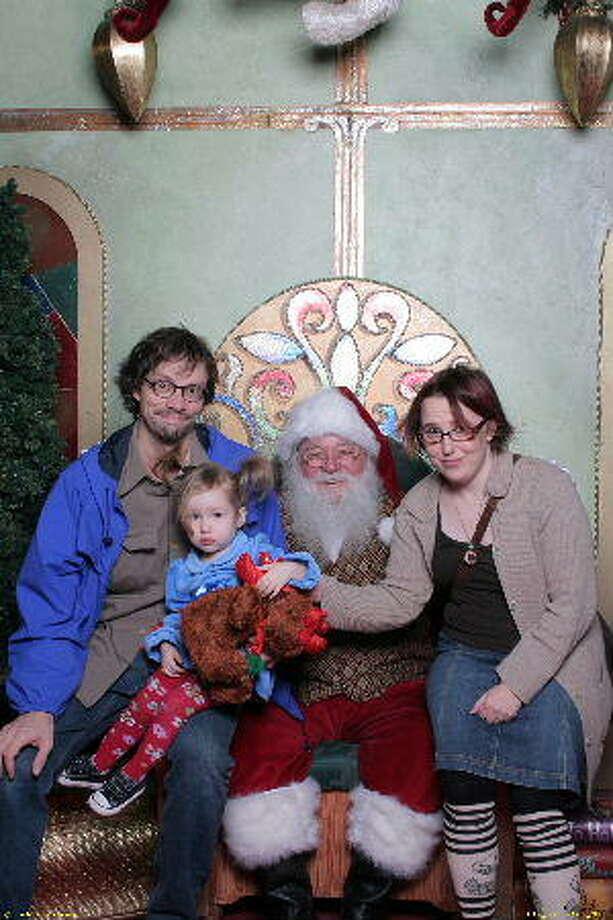 Pop, terrified Hazel, Santa and Nene, 2008