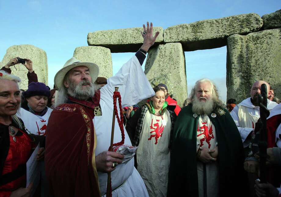 "Druids conducted a ceremony after celebrating the winter solstice.  We didn't know there was a ""Monty Python and the Holy Grail"" shop nearby. (Photo by Matt Cardy/Getty Images) Photo: Matt Cardy, Ap/getty / 2012 Getty Images"