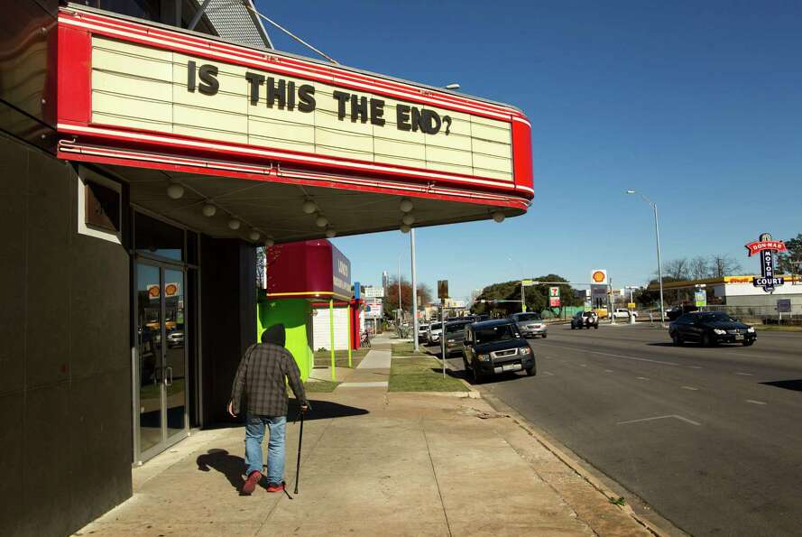 This theater in Austin, Texas, asked the question on Thursday. The answer: The show will go on. (AP