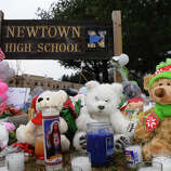 A memorial at Newtown High School for victims from last Friday's shooting massacre at Sandy Hook Elementary School in Newtown, Conn. on Thursday December 20, 2012.